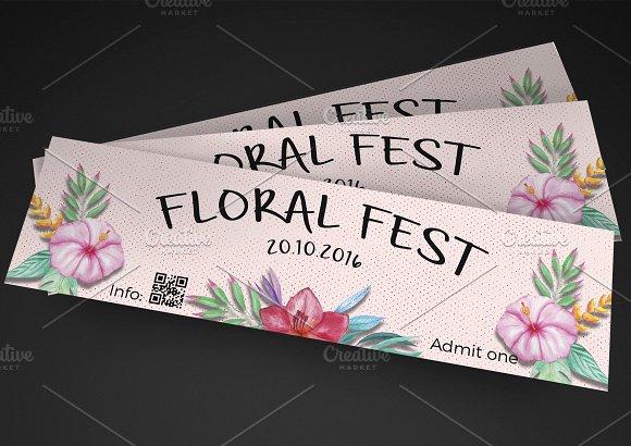 floral festival event ticket invitation templates creative market