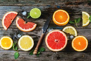 Set of sliced citrus fruits