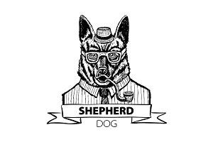 German dog Shepherd hipster vector