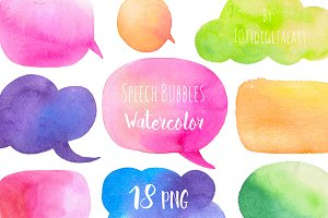Watercolor Speech Bubbles Set
