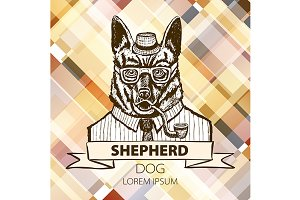 German dog Shepherd hipster smokes