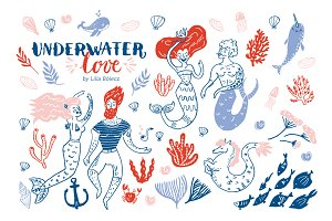 Underwater Love Vector Clipart