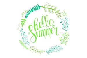 Hello summer lettering wreath.