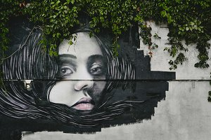 Woman on the Wall. Modern Street Art