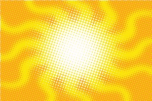 Retro sun with rays pop art