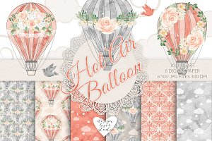 Watercolor hot air balloon coral red