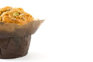 Muffin with nuts isolated