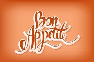 Bon Appetit. Lettering.