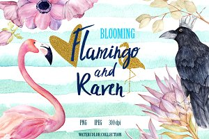 Flamingo, Raven And Protea Pattern