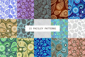 15 SEAMLESS PAISLEY PATTERNS