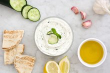 Tzatziki and ingredients