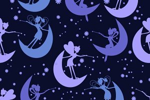 Seamless pattern with fairy