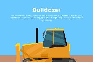 Bulldozer Banner Flat Design