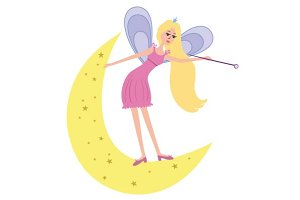 Beautiful fairy with a magic wand