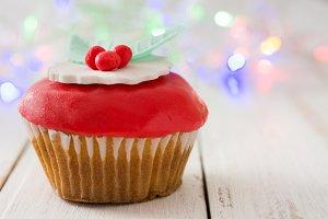 Christmas cupcake and lights