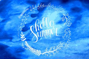 Hello summer card in vector set.
