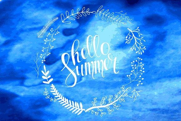 Hello summer card in vector set.