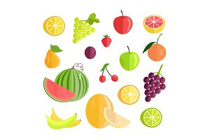 Set of Fruits Flat Design