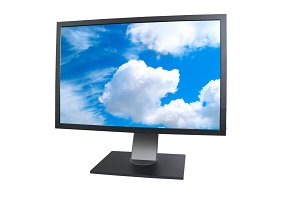 LCD monitor with blue sky on screen
