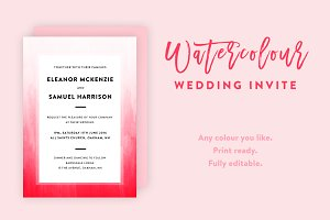 Ombre Watercolor Wedding Invite
