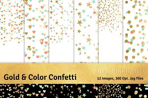 Gold & Color Confetti (PNG included)
