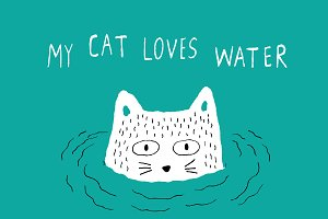 My Cat loves water card