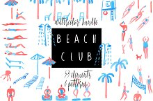 Beach club. Watercolor bundle