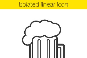 Beer mug linear icon. Vector