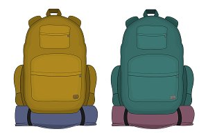 Travel backpacks. Vector
