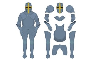 Medieval knight armor parts. Vector
