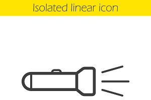 Flashlight linear icon. Vector