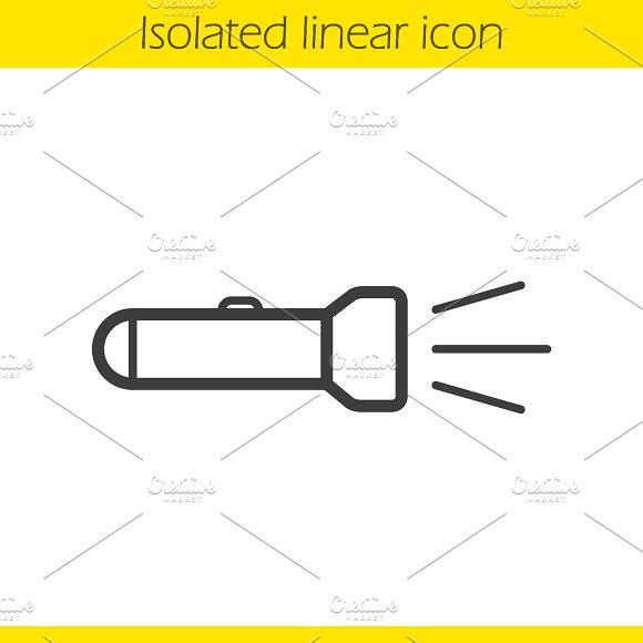 Flashlight linear icon. Vector - Icons