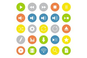 Multimedia. 25 icons. Vector