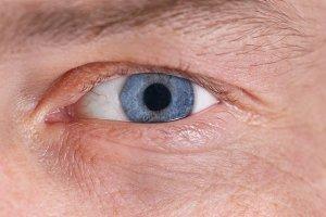 Man's blue eye