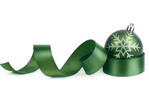 christmas ball and ribbon