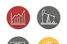Oil industry. 4 icons. Vector