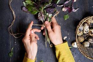 Girls hands holding herbs