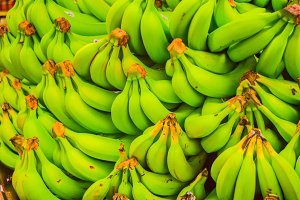 Closeup bundle of bananas