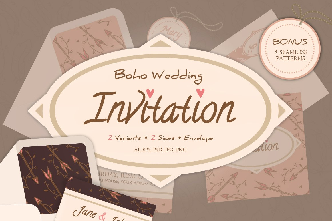 Boho wedding invitation and envelope ~ Invitation Templates ...