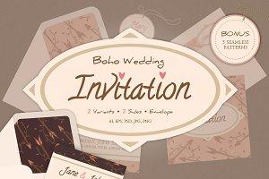 Boho wedding invitation and envelope