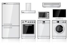 Set of Household Appliances. Vector.