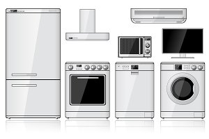 Set of Household Appliances. Vector.