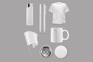 Promotional items, vector set mockup