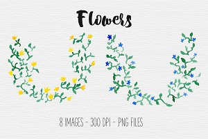 Rustic Flower Wreath Clipart