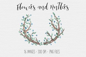 Rustic Antler and Flower Clipart