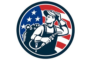 Welder Looking Side USA Flag