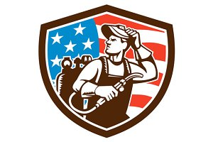 Welder Looking Side USA Flag Crest