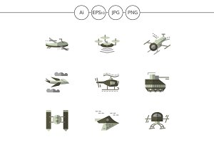 Military drones flat icons. Set 1