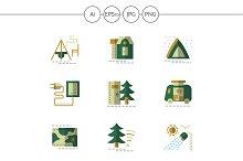 Camping flat green icons. Set 1