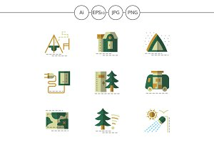 Camping flat green icons. Set 1
